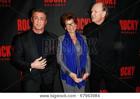 NEW YORK-MAR 13: (L-R) Sylvester Stallone, Janine Van Den Ende and producer Joop Van Den Ende attend 'Rocky' Broadway opening night after party at Roseland Ballroom on March 13, 2014 in New York City.