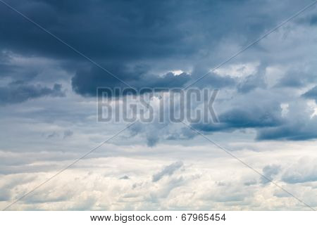 Grey Blue Rainy Clouds In Overcast Sky