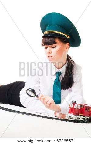 Railroad Worker Investigate Track