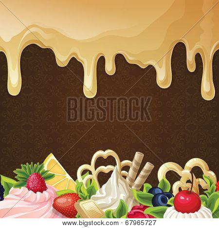 Caramel sweets background