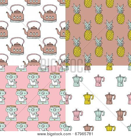 Seamless retro style kitchen and pineapple fruit illustration background pattern in vector