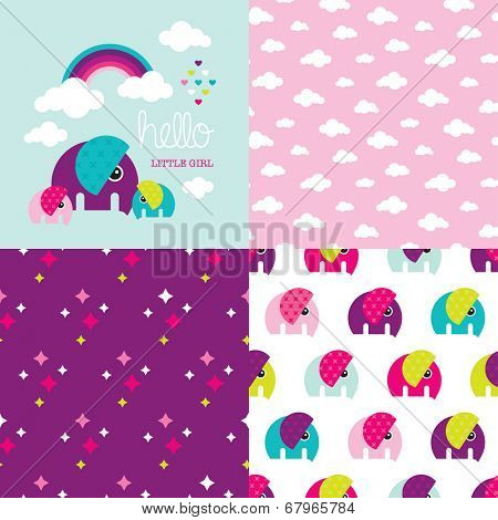 Seamless baby girl elephant illustration pattern collection with rainbow clouds cover invitation design in vector