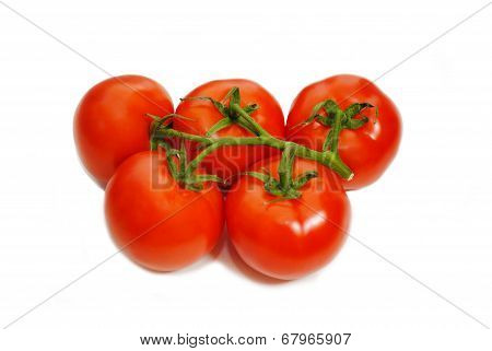 Five Ripe Tomatoes Isolated Over White