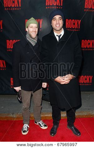 NEW YORK-MAR 13: Actors Bobby Cannavale (R) and Joey Slotnick attend the 'Rocky' Broadway opening night at the Winter Garden Theatre on March 13, 2014 in New York City.