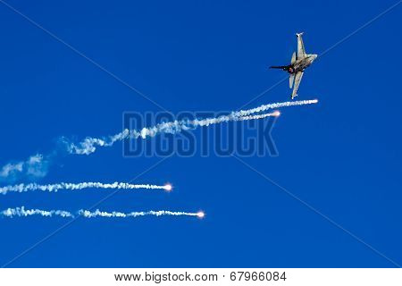Haf F-16 Flying In The Sky During The Kavala Airshow 2014, In Kavala, Greece.