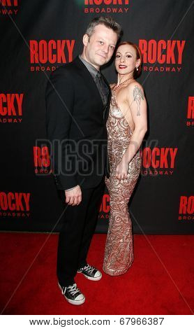 NEW YORK-MAR 13: Actors Jeremy Kushner (L) and Jenny Lee Stern attend the 'Rocky' Broadway opening night after party at Roseland Ballroom on March 13, 2014 in New York City.