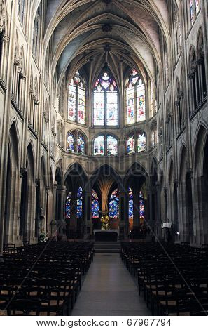 PARIS, FRANCE - NOV 11, 2012: Interior of Saint Severin church. The Church of St Severin is Catholic church in the Latin Quarter. It is one of the oldest churches on the Left Bank.