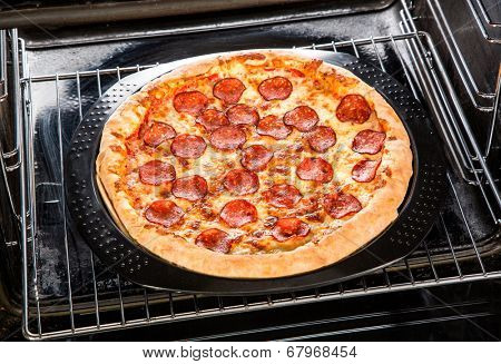 Pepperoni pizza in the oven, Cooking in the oven.