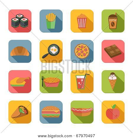 Fast Food Icons Flat