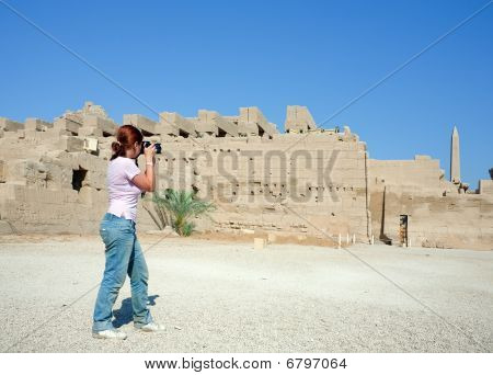 Girl Is Photographing Karnak Temple