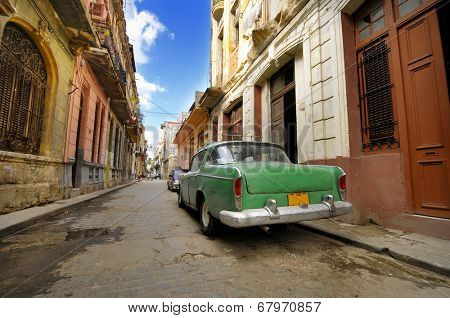 HAVANA, CUBA - JANUARY 20, 2010: Detail of vintage classic car commonly used as private taxi parked in Havana street.