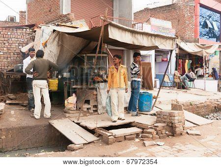 Fast Food Restaurant Built Over Sewer On Street Market.