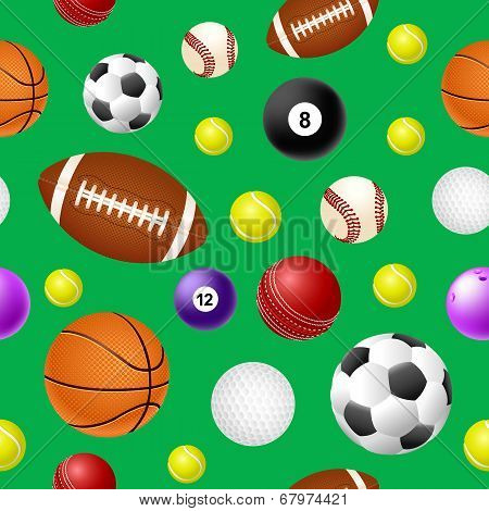 Sports ball seamless pattern on green background