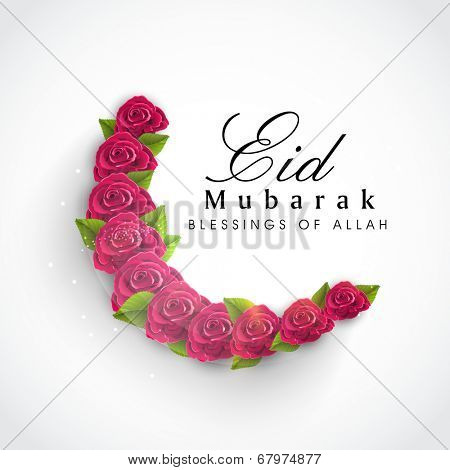 Beautiful red roses and green leaves decorated crescent moon on grey background for Muslim community festival Eid Mubarak celebrations.
