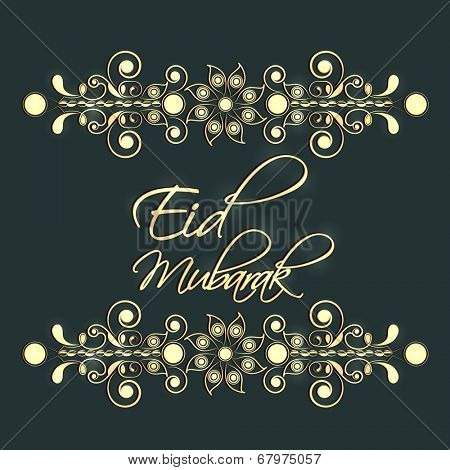 Shiny floral decorated Eid Mubarak celebrations greeting card design.
