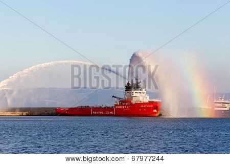 Valiant Energy Ship Throws Water During The Opening Ceremony For The Exhibition For Kavala Airshow 2