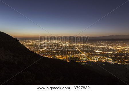 Night view of Burbank and North Hollywood in Los Angeles's San Fernando Valley.