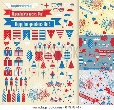 Set of design elements for Independence Day.