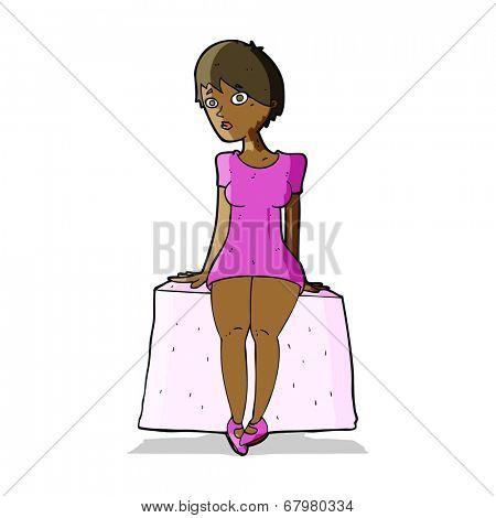 cartoon curious woman sitting
