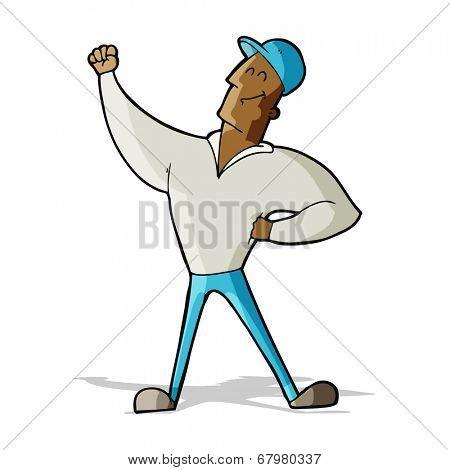 cartoon man striking heroic pose