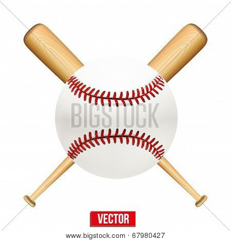 Vector illustration of baseball leather ball and wooden bats.