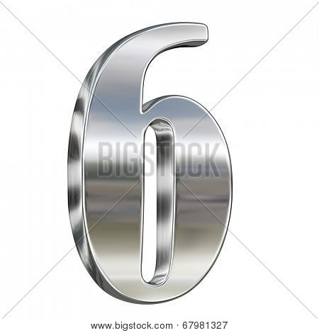 Digit figure six 6 from chrome solid alphabet isolated on white