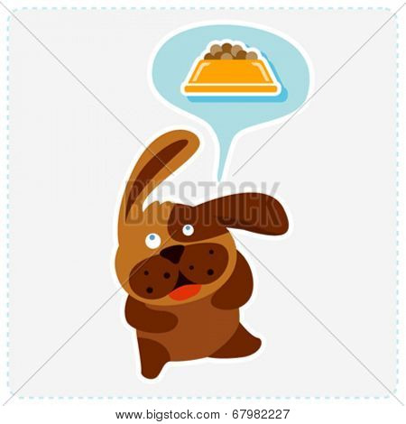 cute cartoon dog is thinking food - vector illustration