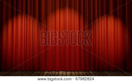 3d stage with red curtain and wooden floor in spot lights