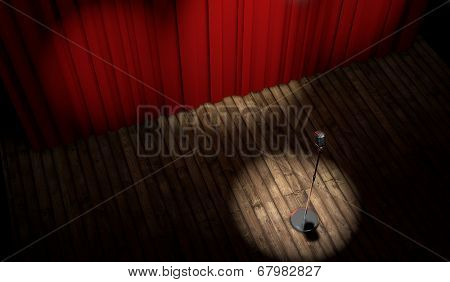 3d stage with red curtain and vintage microphone in spot light, top view