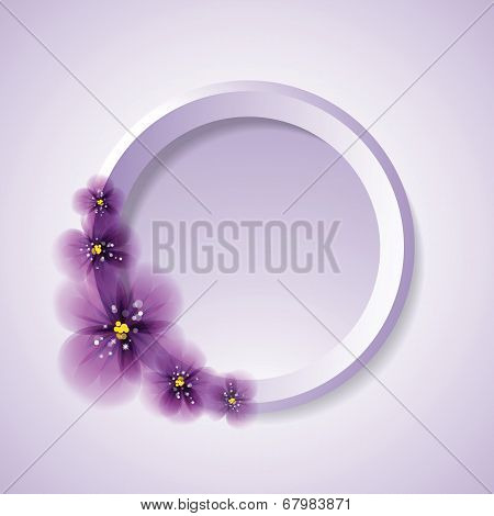 Pansy flowers and circle.