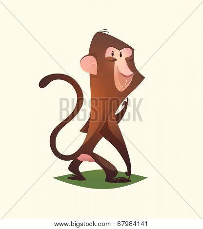 Monkey character. Cartoon vector illustration.