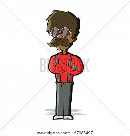 cartoon hipster man with mustache and spectacles
