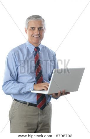 Middle Aged Businessman With Laptop
