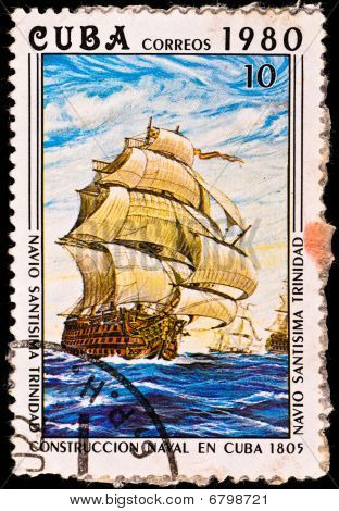 "Postage Stamp Shows Battleship ""santisima Trinidad"""