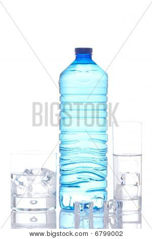 Bottle And Glasses Of Mineral Water With Ice Cubes