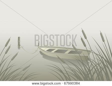 Lake Boat Reeds