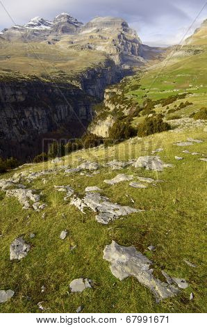 View of the massif of Monte Perdido and Anisclo Valley in Ordesa National Park,Pyrenees, Huesca, Aragon, Spain