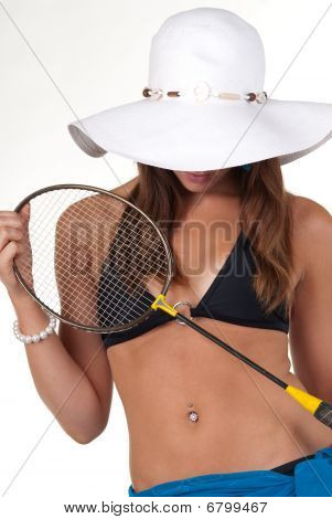 Attractive Young Woman With Badmington Racket