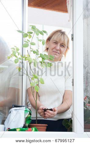 Lady adding soil in pot