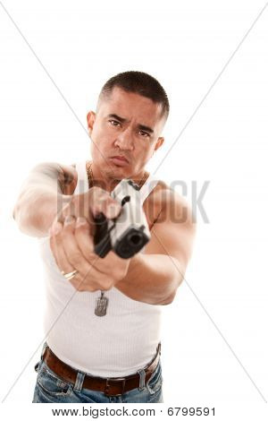 Hispanic Man Pointing Gun