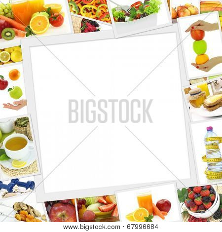 Collection of healthy food photos with copy space