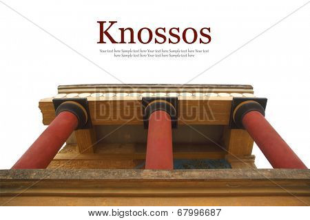 Knossos palace archaeological site Crete Greece isolated on white