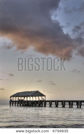 Hanalei Pier At Dusk, Kauai,hawaii.vertical.