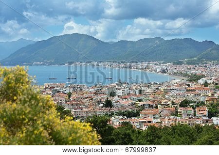 MARMARIS, TURKEY - MAY 1, 2014: Aerial view to the bay of Marmaris. Marmaris population increases 10 times during the tourism season, and its nightlife rivals anything on the Turkish coast