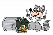foto of raccoon  - Hand drawn cartoon raccoon snacking on a tipped over trash can - JPG