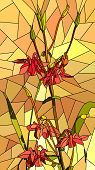 image of columbine  - Vector vertical mosaic with large cells of columbine flowers on yellow - JPG