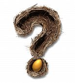 image of retirement  - Retirement nest egg questions and savings as a financial planning business concept with a bird nest metaphor shaped as a question mark with a golden egg on a white background - JPG
