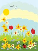 picture of narcissi  - hand drawn illustration of narcissi tulips and myosotis flowers with a ladybug and grass under a blue sky in springtime - JPG