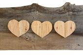 pic of elm  - Three Love Valentines wooden hearts from recycled old palette on old grey Elm background copy space - JPG