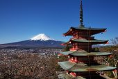 pic of mount fuji  - mountain fuji and chureito pagada from kawagushiko  - JPG